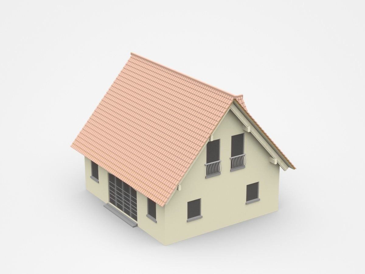 Light Two-storey House With Gable Shape Roof | 3D model