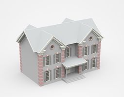 Very Detailed Light Two-storey House With Porch 3D
