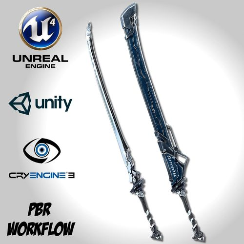sci-fi frozen sword - remake 3d model low-poly fbx unitypackage prefab uasset 1