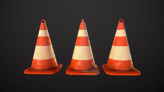 street cone 3d model obj mtl 3ds fbx dae 1