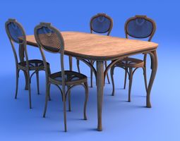 Art Nouveau Dining Table and Chairs 3D model vintage