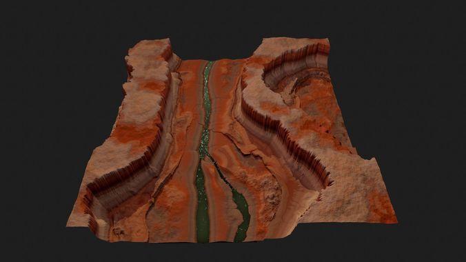 canyon high quality game ready 3d model low-poly obj mtl fbx 1