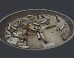 Cigarette Ash Tray Container - 3D Scan low-poly