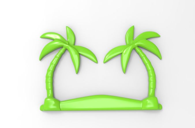printable palm tree relief 3d model obj mtl stl 3dm stp 1