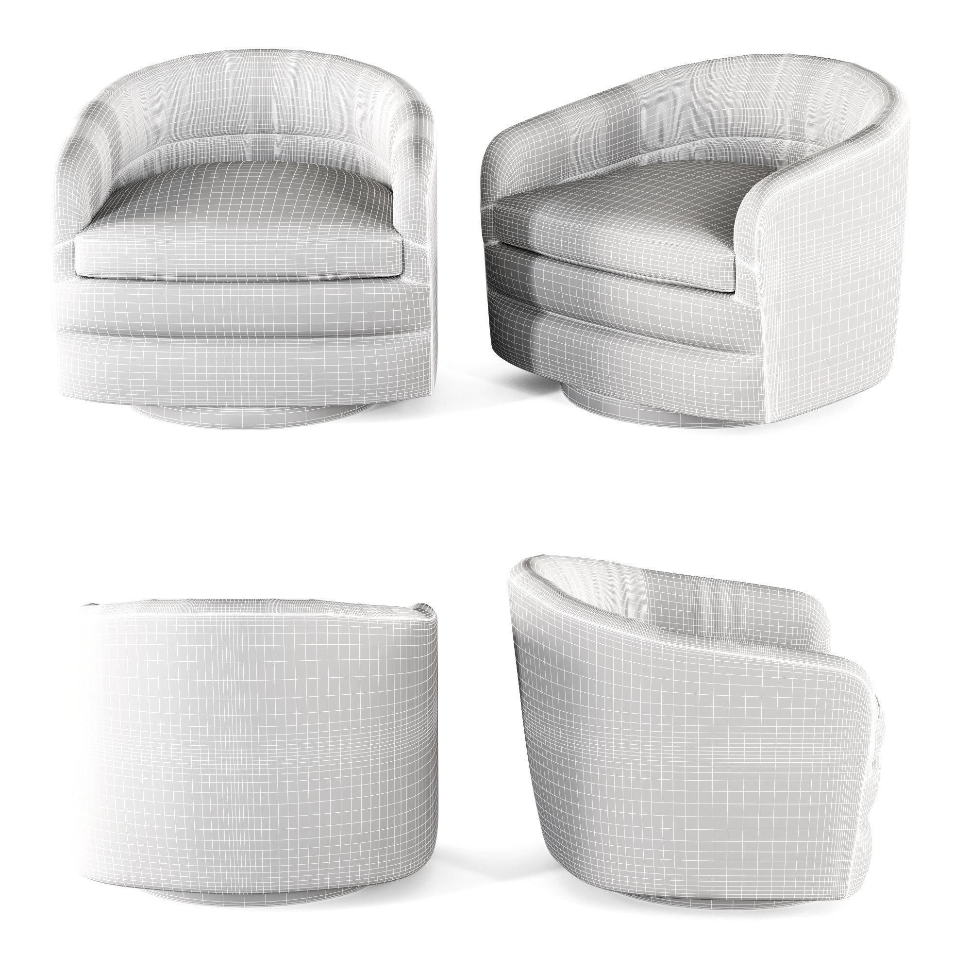 ... Milo Baughman Swivel Tub Chairs For Thayer Coggin 3d Model Max Obj Mtl 3