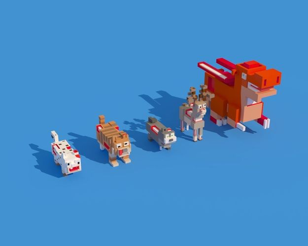 low poly zombie animals crossy road 3d model max obj mtl fbx c4d ma mb blend 1