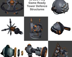 8x Low-Poly Tower Defence Models and Base VR / AR ready 2