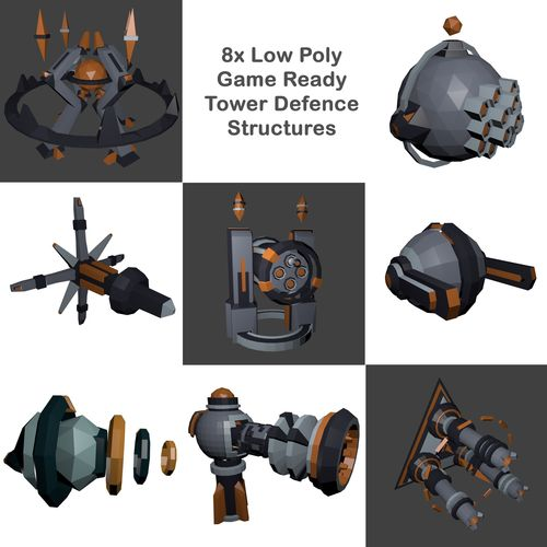 8x low-poly tower defence models and base - game ready 3d model low-poly fbx blend 1