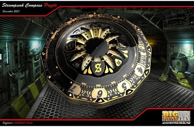steampunk compass 3d model stl sldprt sldasm slddrw 1