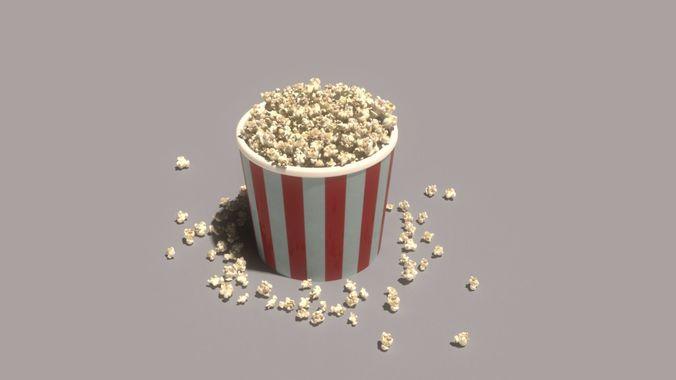 popcorn time 3d model animated max fbx abc 1