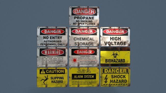 metal warning signs common enviroment assets 3d model fbx 1