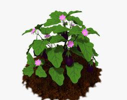 3D model Cartoon Eggplant Plant