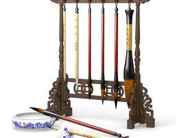 Chinese Calligraphy Brush Set - Pens - holder - 3D model 1