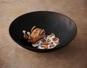 Chicken with Cream Sauce 3D asset
