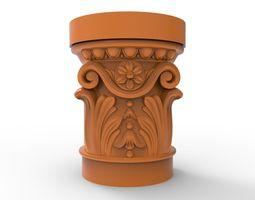 Carved CNC 3D print model column