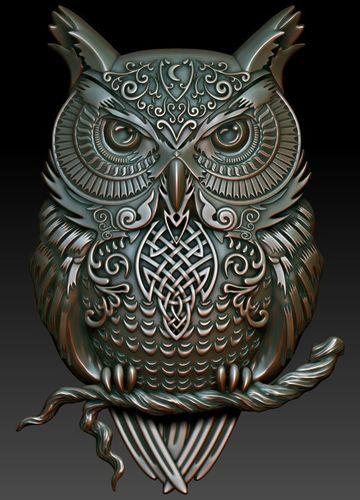 celtic owl 3d model stl 1