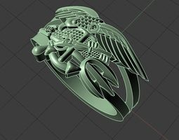 Eagle ring with gun 3D print model