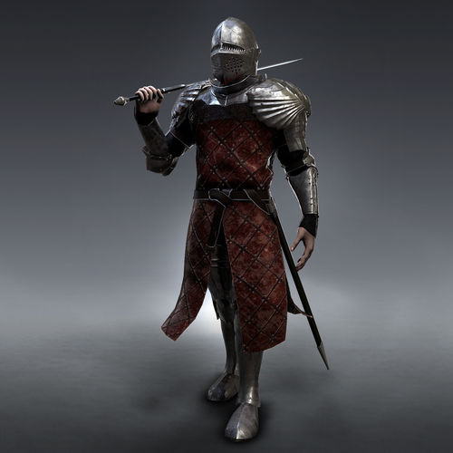 medieval knight rigged 3d model low-poly rigged max fbx 1