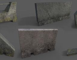Concrete Barrier Collection 3D asset