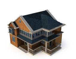 3D low poly Villa02 with LOD game-ready