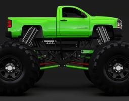 3D Monster Truck Chevrolet Silverado 2019