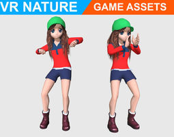 3D model Low poly Cartoon Girl Animated - Game ready