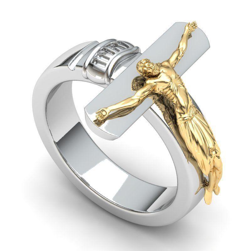 Crucifix Design Engagement Ring