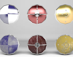 3D asset Fantasy Round Shields - Low and Hi Poly