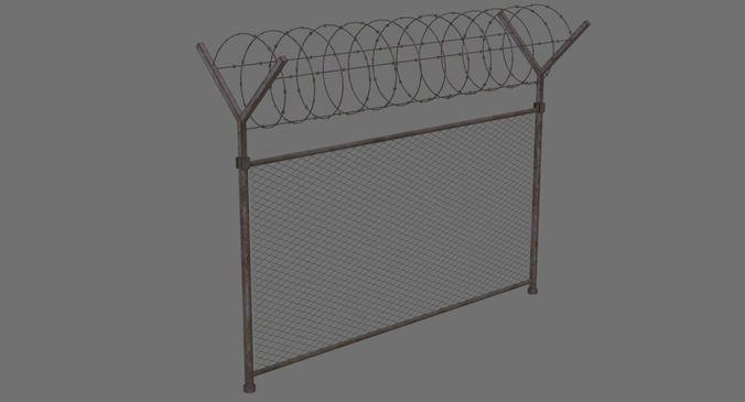 barbed wire fence 1b 3d model low-poly obj mtl fbx blend 1