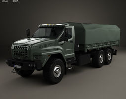 Ural Next Flatbed Canopy Truck 2016 3D military