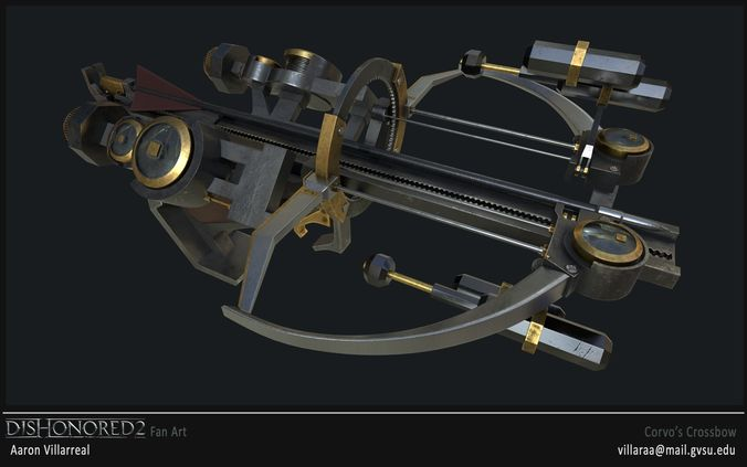 dishonored 2 corvos crossbow 3d model obj mtl fbx stl 1