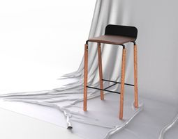 Scandinavian Bar stool With Leather Seat 3D