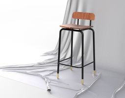 3D model Scandinavian Design Mid Century Modern Bar Stool