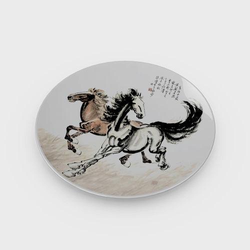 chinese porcelain dinner plate - horse painting 3d model max obj mtl fbx c4d ma mb 1