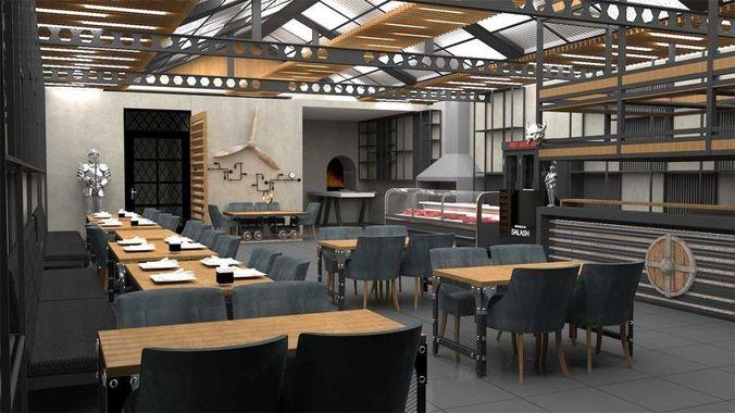 cafe  design restaurant design steakhose design  3d model max 1