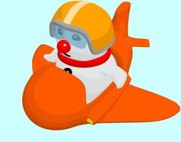 rigged 3d model cartoon pilot bouli snowman