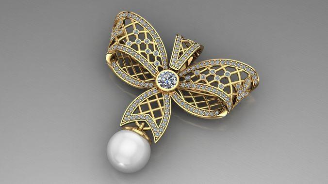 pearls pendant butterfly 3d model stl 3dm 1