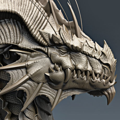dragon bust 3d model obj mtl stl ztl 1