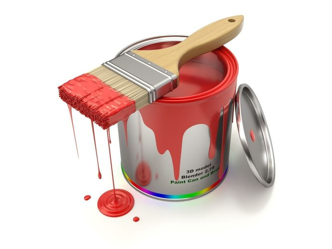 paint can and brush 3d model obj mtl fbx blend 1