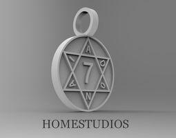 3D print model PENDANT Seal of Solomon Adonai defender 3