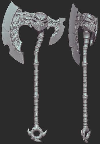 darksider skeleton axe 3d model stl 1