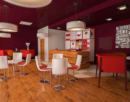 realtime Cafe shop interior VR AR low-poly 3D model