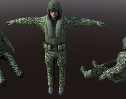 Helicopter Soldier - Pilot simple model Low Poly rigged