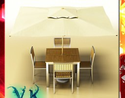 exterior bar table chair and parasol 3d