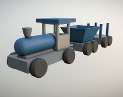 3D asset Game Ready Blue Wooden Kids Toy Train