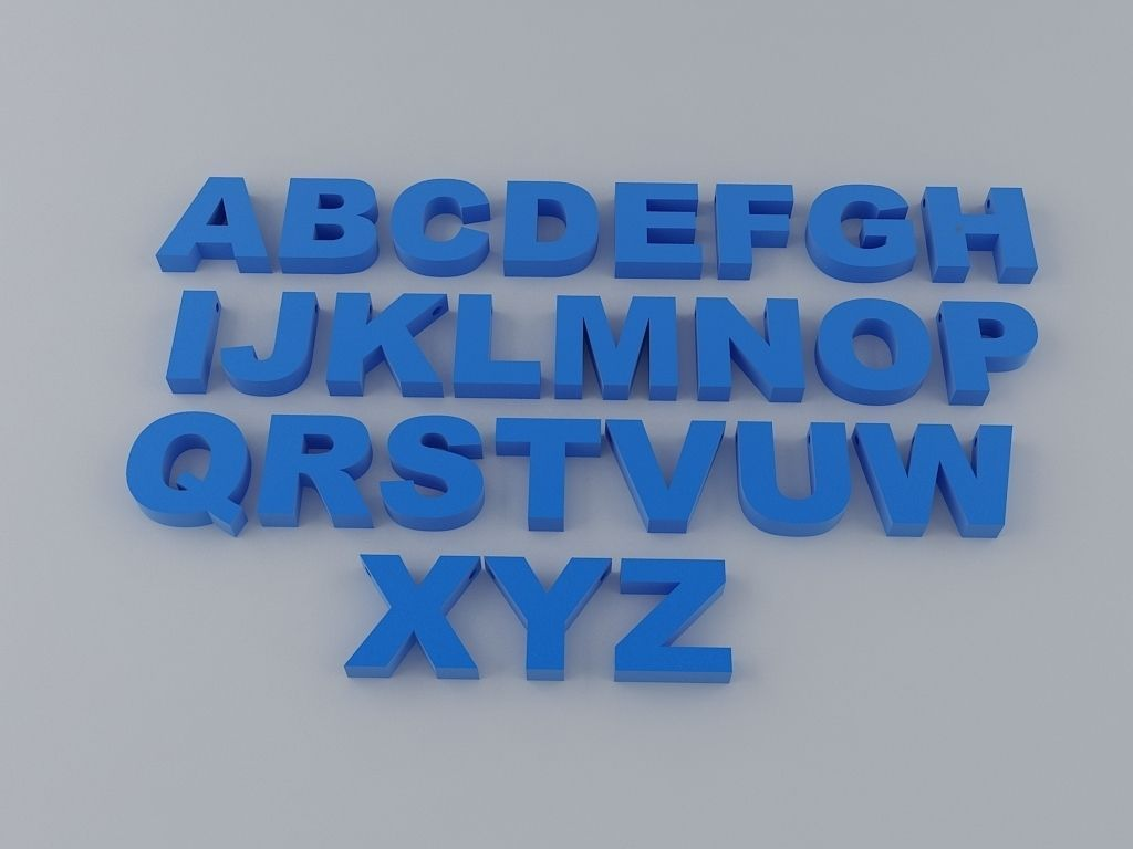 D Print Model A To Z English Letters Alphabet  Cgtrader