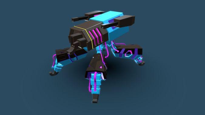 mech spider 3d model blend gltf glb 1