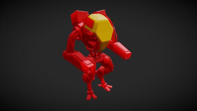 red mech 3d model blend gltf glb 1