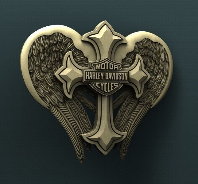 3d STL Model for CNC Router Harley Davidson Cross