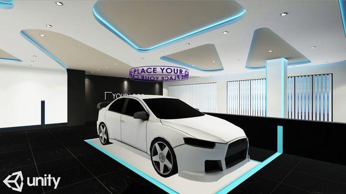 showroom vr ar game ready 3d model low-poly max obj mtl 3ds fbx unitypackage prefab 1